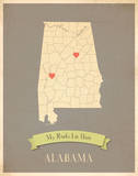My Roots Alabama State Map -clay Prints by Rebecca Peragine