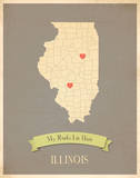 Illinois My Roots Map, clay version (includes stickers) Art by Rebecca Peragine