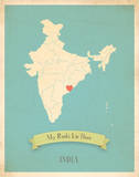 My Roots India Map - blue Posters by Rebecca Peragine