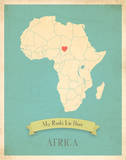 Africa My Roots Map, blue version (includes stickers) Posters by Rebecca Peragine