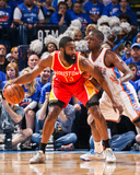 May 1, 2013, Houston Rockets vs Oklahoma City Thunder - Game Five - James Harden, Reggie Jackson Photo by Layne Murdoch