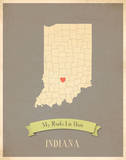 Indiana My Roots Map, clay version (includes stickers) Plakat autor Rebecca Peragine