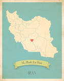 My Roots Iran Map - blue Art by Rebecca Peragine