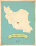 My Roots Iran Map - blue Arte por Rebecca Peragine