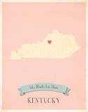 Kentucky My Roots Map, pink version (includes stickers) Prints by Rebecca Peragine