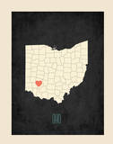 Ohio Personalized My Roots Map (includes stickers) Print by Rebecca Peragine