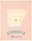 My Roots Arkansas State Map - pink Prints by Rebecca Peragine