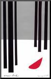 Snow Bird/Redbird in Snowy Black Forest Mounted Print by Jerry Kott