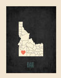 Idaho Personalized State Map (includes stickers) Prints by Rebecca Peragine