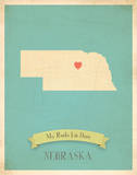 Nebraska My Roots Map, blue version (includes stickers) Print by Rebecca Peragine