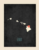 Personalized Vintage Hawaii State Map Prints by Rebecca Peragine