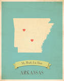 Arkansas My Roots Map, blue version (includes stickers) Print by Rebecca Peragine