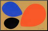 Birth/Black, Orange and Blue Eggs Mounted Print by Jerry Kott