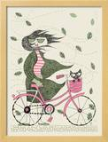 Fall Hipster Girl Bike Prints by  Methane Studios