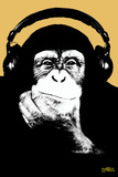 Headphone Chimp - Gold Prints by  Steez