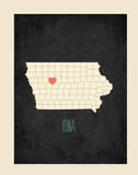 Iowa Personalized State Map (includes stickers) Print by Rebecca Peragine