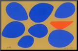 Birth/Seven Eggs with Orange Bird Mounted Print by Jerry Kott