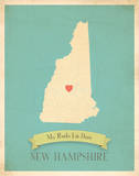 New Hampshire My Roots Map, blue version (includes stickers) Posters by Rebecca Peragine