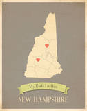 New Hampshire My Roots Map, clay version (includes stickers) Prints by Rebecca Peragine