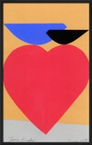 Deux Love Birds with Red Heart Framed Giclee Print by Jerry Kott
