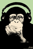 Headphone Chimp - Green Prints by  Steez