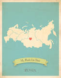 Russia My Roots Map, blue version (includes stickers) Posters by Rebecca Peragine
