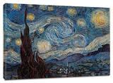 星月夜(糸杉と村) 1889年 キャンバスプリント : フィンセント・ファン・ゴッホ