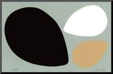 Birth/Black, White and Tan Eggs Mounted Print by Jerry Kott