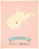 My Roots West Virginia State Map - pink Art by Rebecca Peragine