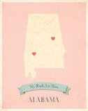 My Roots Alabama State Map -pink Posters by Rebecca Peragine