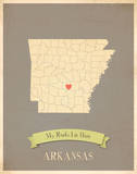 Arkansas My Roots Map, clay version (includes stickers) Posters by Rebecca Peragine