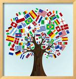 Flags Of The World Tree Framed Giclee Print by  cienpies
