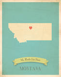 Montana My Roots Map, blue version (includes stickers) Prints by Rebecca Peragine