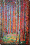Pine Forest - Tannenwald Stretched Canvas Print by Gustav Klimt