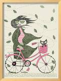 Hipster Girl Bike Framed Giclee Print by  Methane Studios