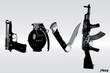Love (Weapons) Black & White Plastic Sign by  Steez