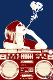 Boombox Joint - Navy/Red Wall Decal by  Steez