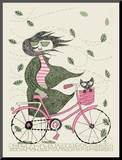 Hipster Girl Bike Mounted Print by  Methane Studios