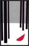 Snow Bird/Redbird in Snowy Black Forest Framed Giclee Print by Jerry Kott