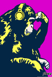 Monkey Thinker - Purple Plastic Sign by  Steez