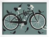 Boy Bird Bike Grey Prints by  Methane Studios