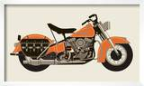 1950 Orange Motorcycle Poster by  Methane Studios