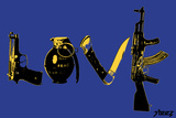 Love (Weapons) Blue Wall Sign by  Steez