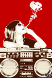 Boombox Joint - Red Wall Decal by  Steez
