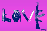 Love (Weapons) Purple Plastic Sign by  Steez