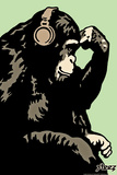 Headphone Chimp - Green Wall Decal by  Steez