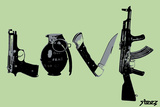 Love (Weapons) Green Plastic Sign by  Steez