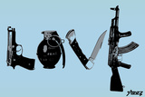 Love (Weapons) Light Blue Wall Sign by  Steez