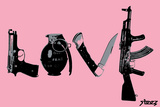 Love (Weapons) Pink Wall Decal by  Steez