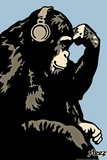 Monkey Thinker - Blue Wall Decal by  Steez